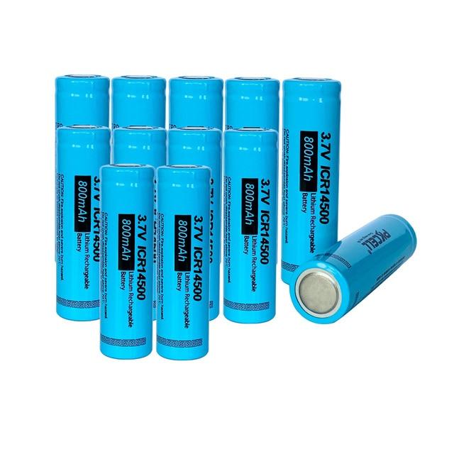 PKCELL ICR14500 14500 800mAh 3.7V Rechargeable Li ion Batteries led lampe de poche Batterie Flat Top