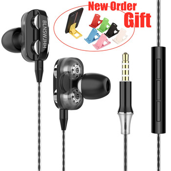Quad-core Wired Earphone Hifi Stereo In-Ear Earphones With Microphone Earbuds for Xiaomi Black Shark Redmi For Samsung joyroom 3 5mm wired earbuds earphones in ear for xiaomi samsung phone computer in ear sport earphones with microphone stereo