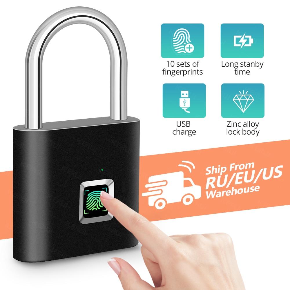 KERUI Fingerprint Lock Smart Padlock Thumbprint Door Padlocks Portable Anti-Theft Fingerprint Lock For Bag Drawer Suitcase