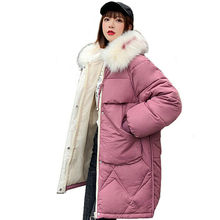 Women Winter Warm Loose Jacket Outfit Hooded Fur Collar Cotton Coat Female Jacket women Parka