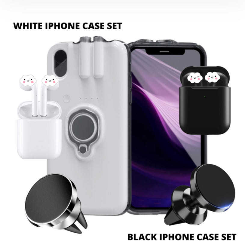 For iPhone 11 11 Pro 11 Pro Max Xs Max 8 7 6 6s Plus Case AirPods Charging Case +i500 TWS Earphone +Magnetic holder Dropshipping