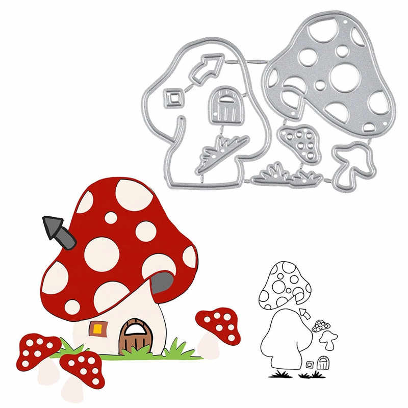 Naifumodo Mushroom House Metal Steel Cutting Dies 2019 New Stencil for DIY Scrapbooking Paper/photo Cards Embossing Dies