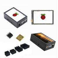 3.5 inch TFT LCD Display Touch Screen + ABS Case + Heat sink For Raspberry Pi 4B 3B+ 3B|Demo Board Accessories| |  -