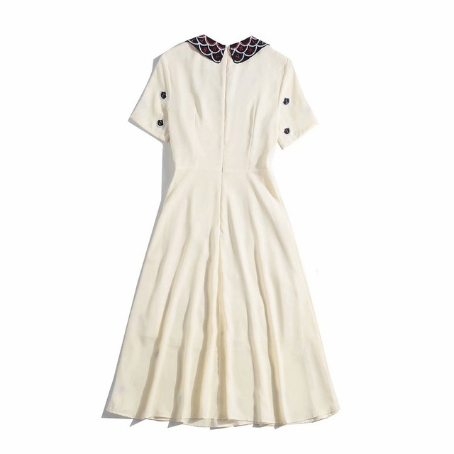 High Quality New Celebrity Inspired Party Ladies Peter Pan Collar Crystal Beading Letter Embroidery Short Sleeve Mid-Calf Dress