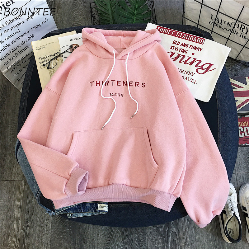 Hoodies Women Soft Loose Fashion Sweet Korean Style Pullover Hooded Womens Leisure Chic Simple Long Sleeve Clothing Plus Velvet