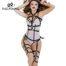 Sexy Punk Harajuku Goth Garters Faux Leather Body erotic Bondage Cage Harness Waist Belt Straps Suspenders Stockings Belt fullyoung sexy women leather belts sculpting slim body bondage cage fashion punk harness waist straps suspenders belt