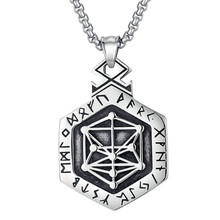 Vintage Viking Nordic Rune Necklace Geometric Pendant for Men Stainless Steel Scandinavian Wikinger Norse Necklaces Male Jewelry