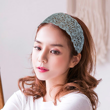 Women Wide Hair Bands Girls Lace Hollow Flower Headband Elastic Hairband Floral Boutique Hoops Tiara Accessories