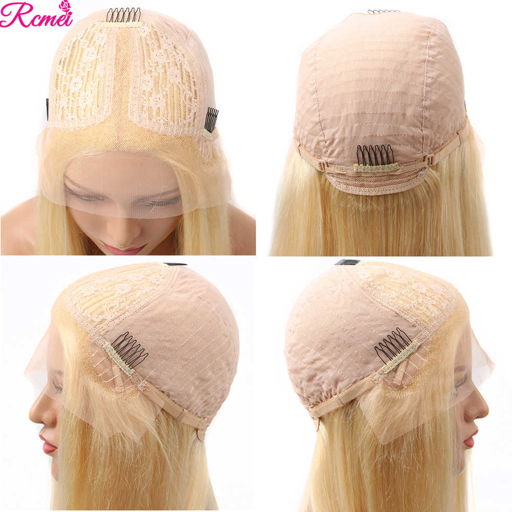 Środkowa część 613 miód blond prosto przejrzyste koronki część przodu włosów ludzkich peruka brazylijski 28 '13x1 koronki Remy wstępnie oskubane 150%