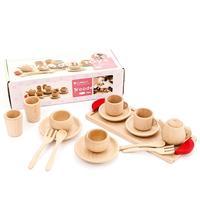 16Pcs/Set Wooden Pretend Play Tea Kettle Saucers Spoon Model Educational Toy Simulation Dollhouse Miniature Accessories mini