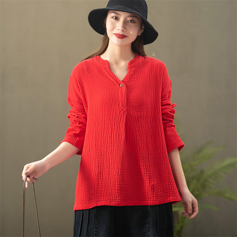 <font><b>Women</b></font> Autumn Cotton Blouses Casual Long Sleeve V-Neck Solid Loose Shirts Lady Vintage <font><b>Tops</b></font> Blouse <font><b>Plus</b></font> <font><b>Size</b></font> M-7XL <font><b>8XL</b></font> image
