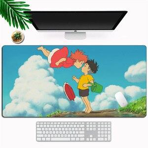 Anime ponyo no penhasco xl grande mouse pad gamer computador portátil tapete de mesa dos desenhos animados otaku gaming mousepad teclado de borracha