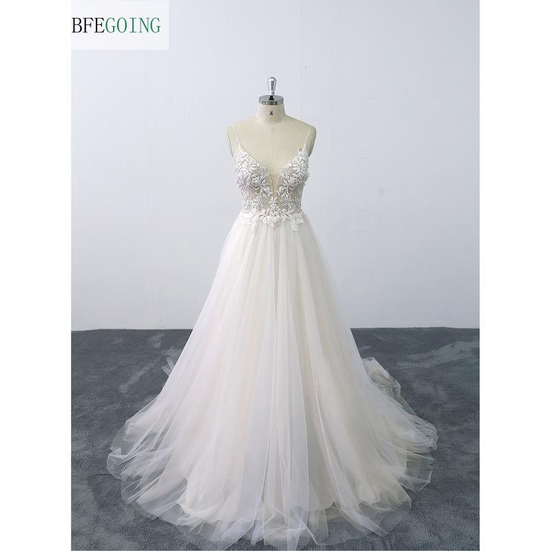 Ivory Lace Tulle Beading Spaghetti Straps V-Neck Floor-Length A-line Wedding Gown Bridal Dress  Chapel Train Custom Mdae