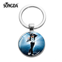 SONGDA Monumental Michael Jackson Keychain Pop Star Singer MJ Dancing Pendant Silver Key Ring Chain Music Fans Favorite Souvenir(China)
