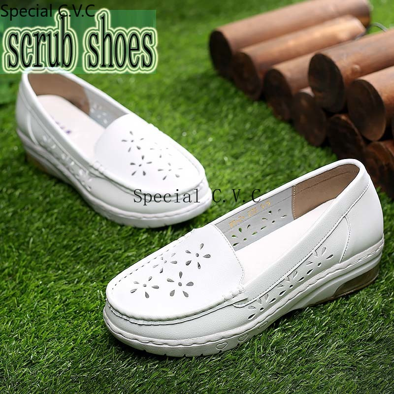 Nursing Shoes Air Cushion Non-slip Scrub Shoes Leather Workwear Slip-ons Shoes Medical Shoes For Women Lightweight