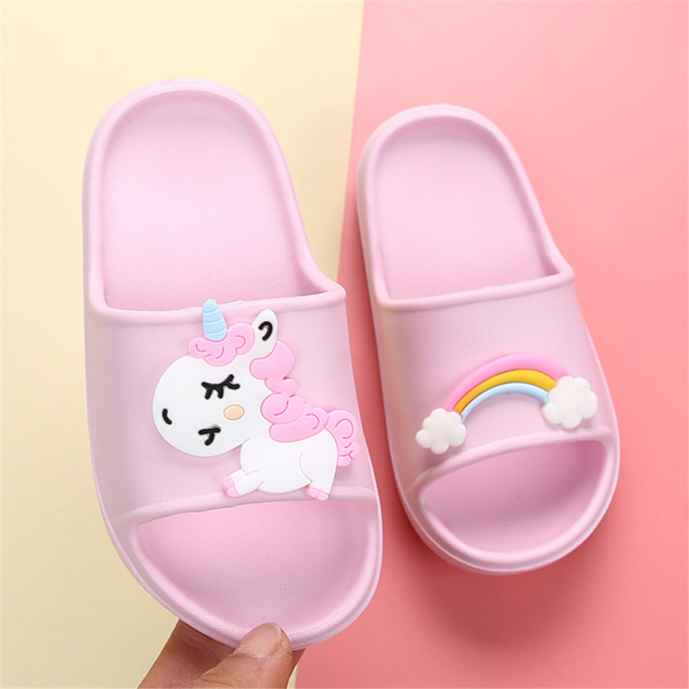 Barefoot Shoes Kids Unicorn Horse Rainbow Cartoon Girls Children Bts Slippers Boys Clog Flip Flop Baby Home Footwear Beach EVA