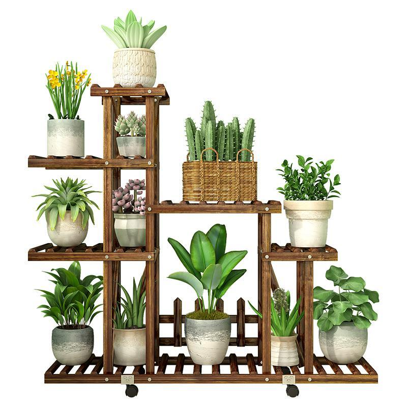 Carbonized Wood Damp-proof Antiseptic Flower Rack Multi-layer Plant Stand Shelves Garden Patio Balcony With Planting Tools
