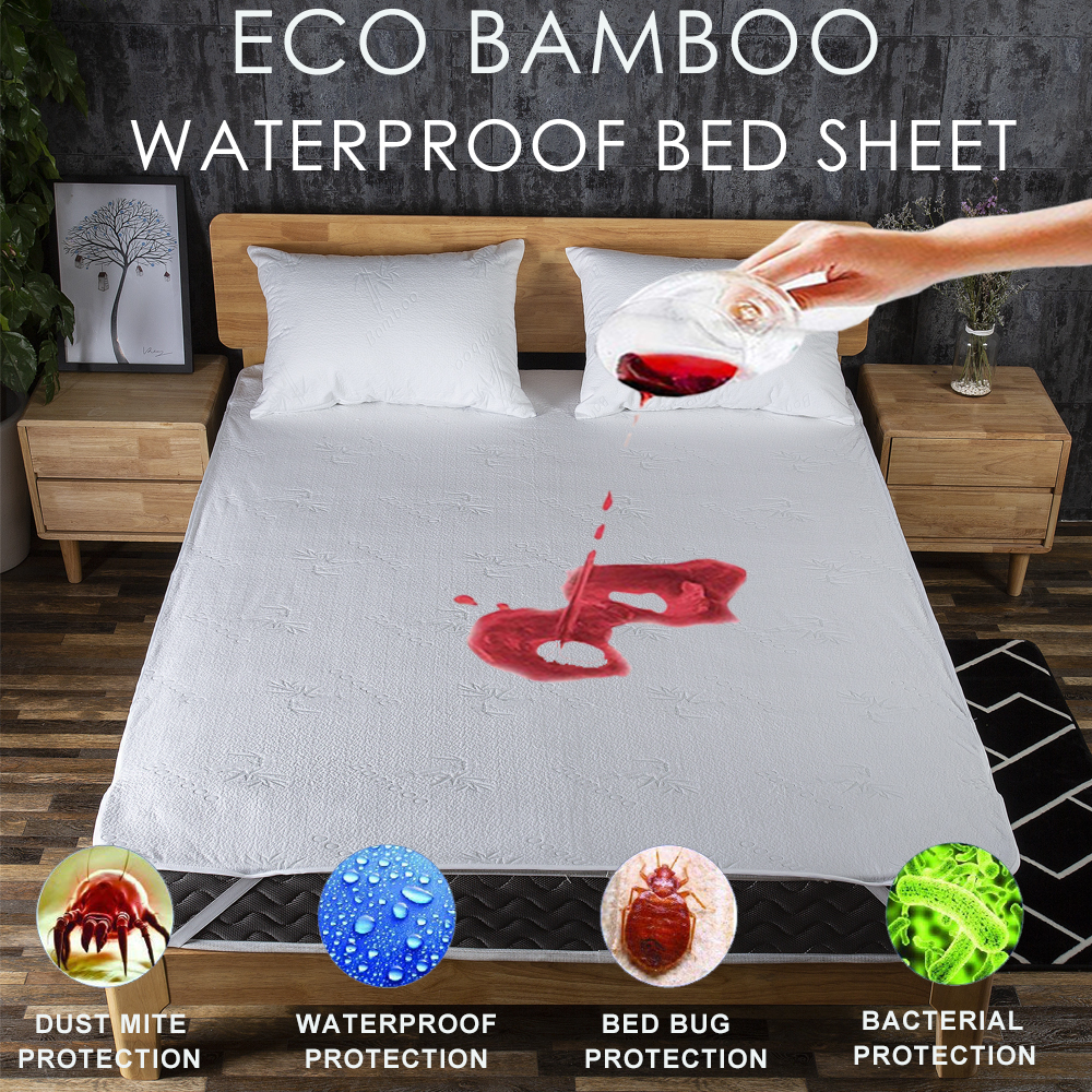 LFH Bamboo Bed Sheet Waterproof Protect Bed And Mattress Anti Mites Mattress Cover Patient Baby Bed Wetting Poppy Training Use