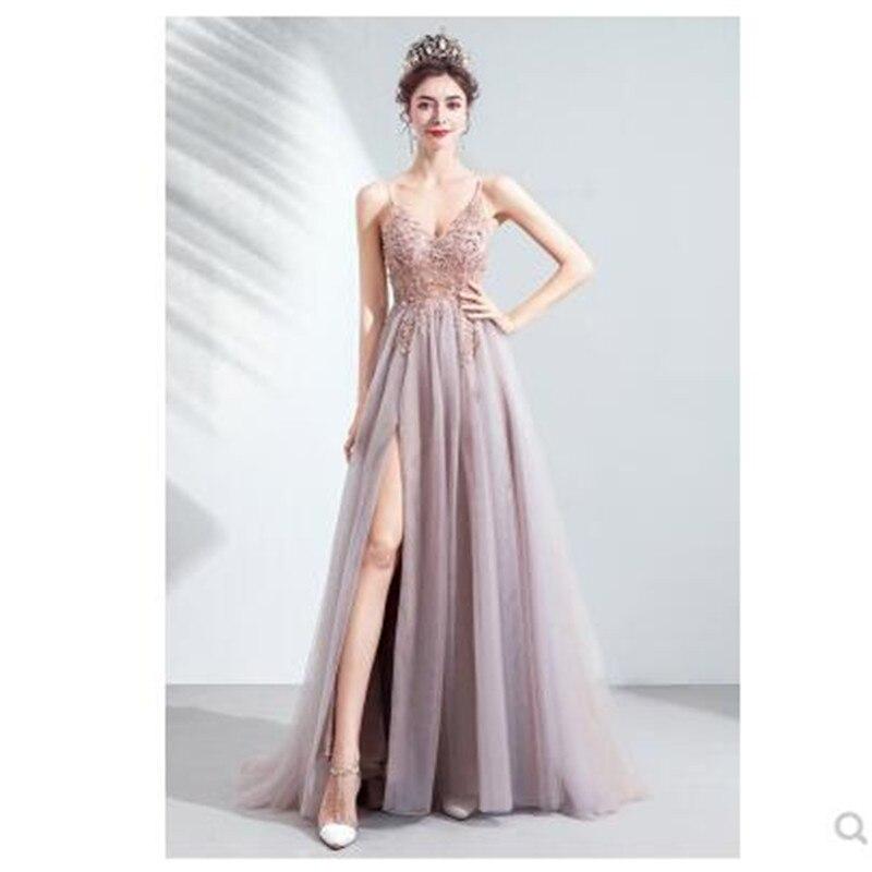 >Cherry Blossom Pink Bride Wedding Toast Dinner Party 2020 V neck Pink <font><b>High</b></font> <font><b>Split</b></font> <font><b>Tulle</b></font> Sweep Train Sleeveless Evening Gown