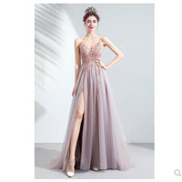 Cherry Blossom Pink Bride Wedding Toast Dinner Party 2020 V neck Pink High Split Tulle Sweep Train Sleeveless Evening Gown