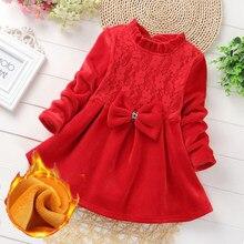 Bebê da criança meninas meninas princesa vestido de inverno crianças vermelho velo manga longa tutu vestido menina roupas quentes para 3 4 5 6 7 8 anos