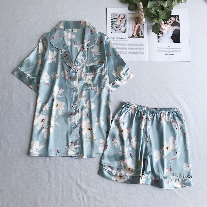 Casual Sleep Suit Kimono Gown Print Flower Pajamas Set 2PCS Shirt&shorts Women Satin Homewear Nightwear Home Clothes Pyjamas