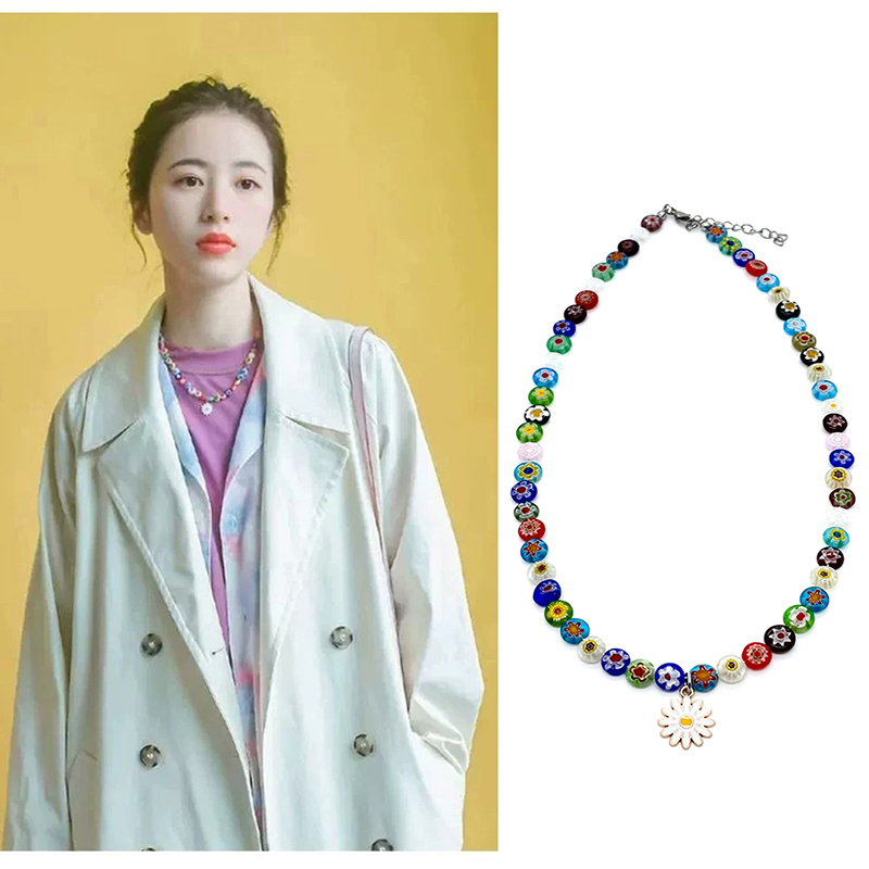 Fashion Jewelry Glaze colour flower Daisy Necklace woman necklace Fine Jewelry Smart Jewelry Jewelry Making