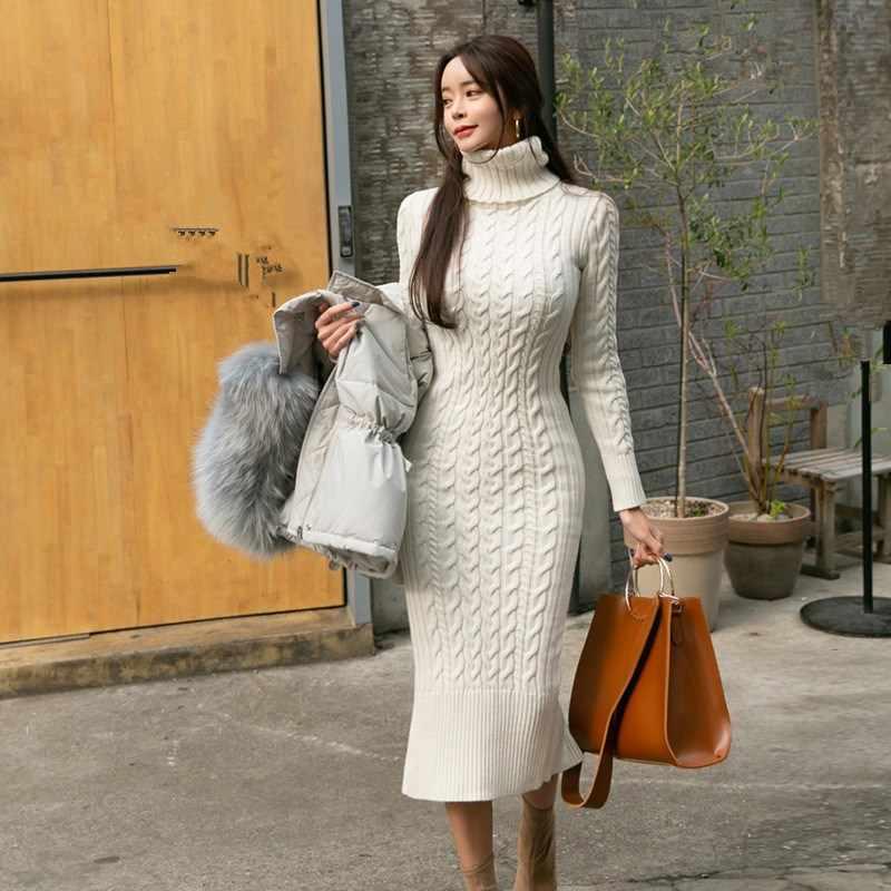 Thanh Lịch Mùa Đông Dệt Kim Ấm Áo Len Đầm Nữ Thời Trang Turtlenek Tay Dài Chia Vỏ Đầm Bodycon Đầm Bút Chì