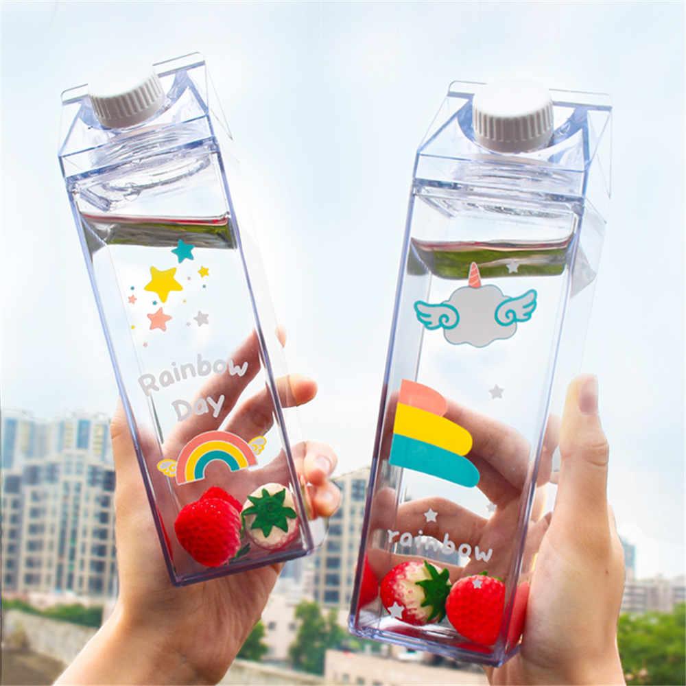 500 мл коробка для молока форма бутылки для воды мультфильм радужный узор пластмассовая фляга милый Единорог кофе чашка для фруктового сока посуда для напитков