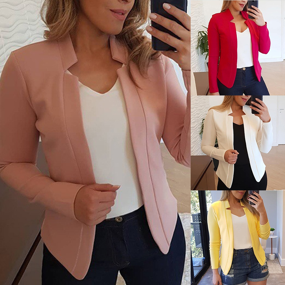 Blazers Suits-Sets Business Ourwears Slim Office Ladies Autumn Solid-Color Casual Women title=