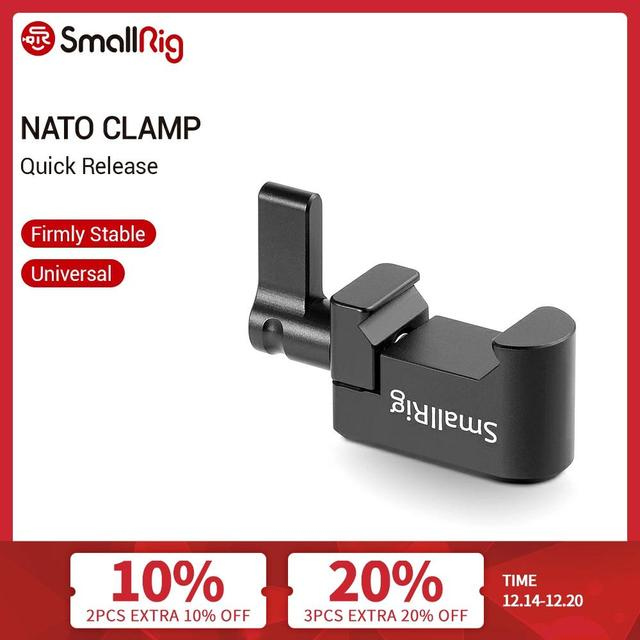 """SmallRig Nato Clamp Quick Release Clamp with 1/4"""" 3/8"""" M2.5 Thread for Cold Shoe Monitor Support Ball Head   1973"""