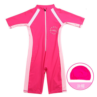 Girl'S Swimsuit New Style KID'S Swimwear One-piece Hooded Set Middle And Large GIRL'S Tour Bathing Suit Manufacturers Wholesale