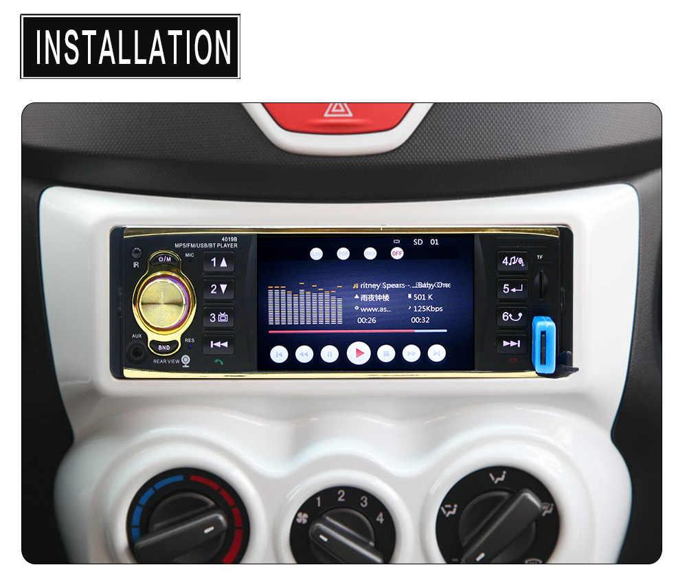 Автомобильная Радио 1 Din 4,1 дюймов экран Авторадио MP5 плеер Поддержка зеркального соединения стерео Bluetooth Камера заднего вида + SD AUX FM