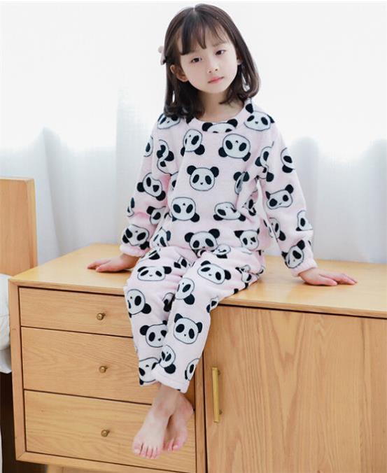 Children Sleepwear Autumn/winter children's flannel   pajamas   female boy home service   set   boy/girl protection coral fleece   set