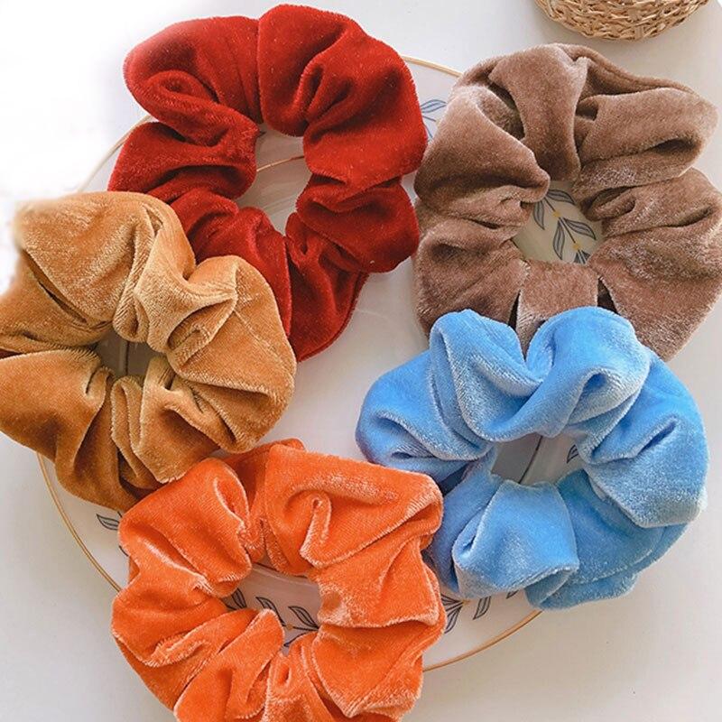 Kış şeker renk saç halat kadın kadife Scrunchie lastik bant yumuşak sıcak elastik saç bantları yılbaşı hediyeleri saç aksesuarları