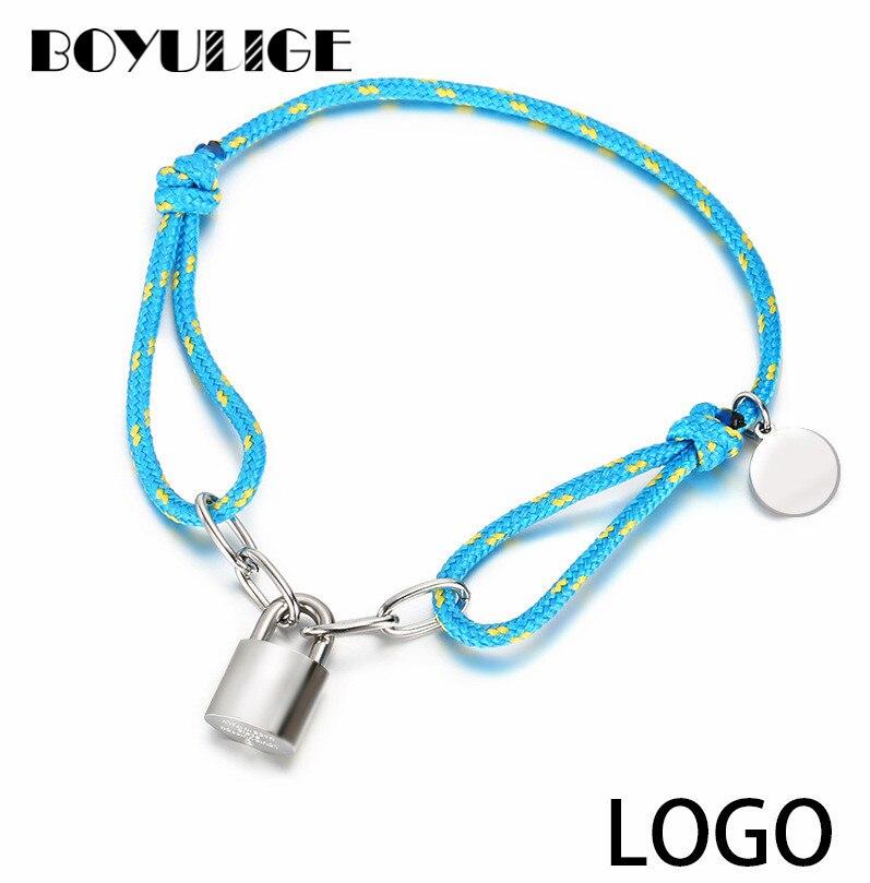 BOYULIGE Neue Klassische Mode Geflochtenen Seil Armband Lock Beliebte Element Paar Armbänder Für Männer Und Frauen Charme Schmuck Geschenke