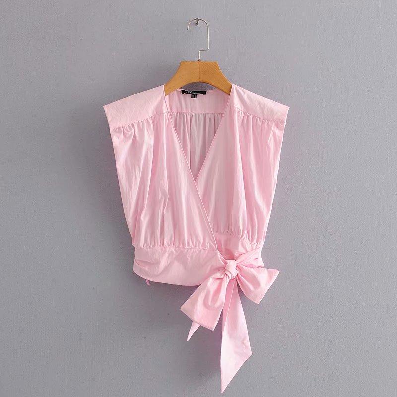 New 2020 Women Cross V Neck Hem Bow Tied Pink Shirt Sleeveless Pleat Kimono Blouses Women Roupas Femininas Chemise Shirts LS6586