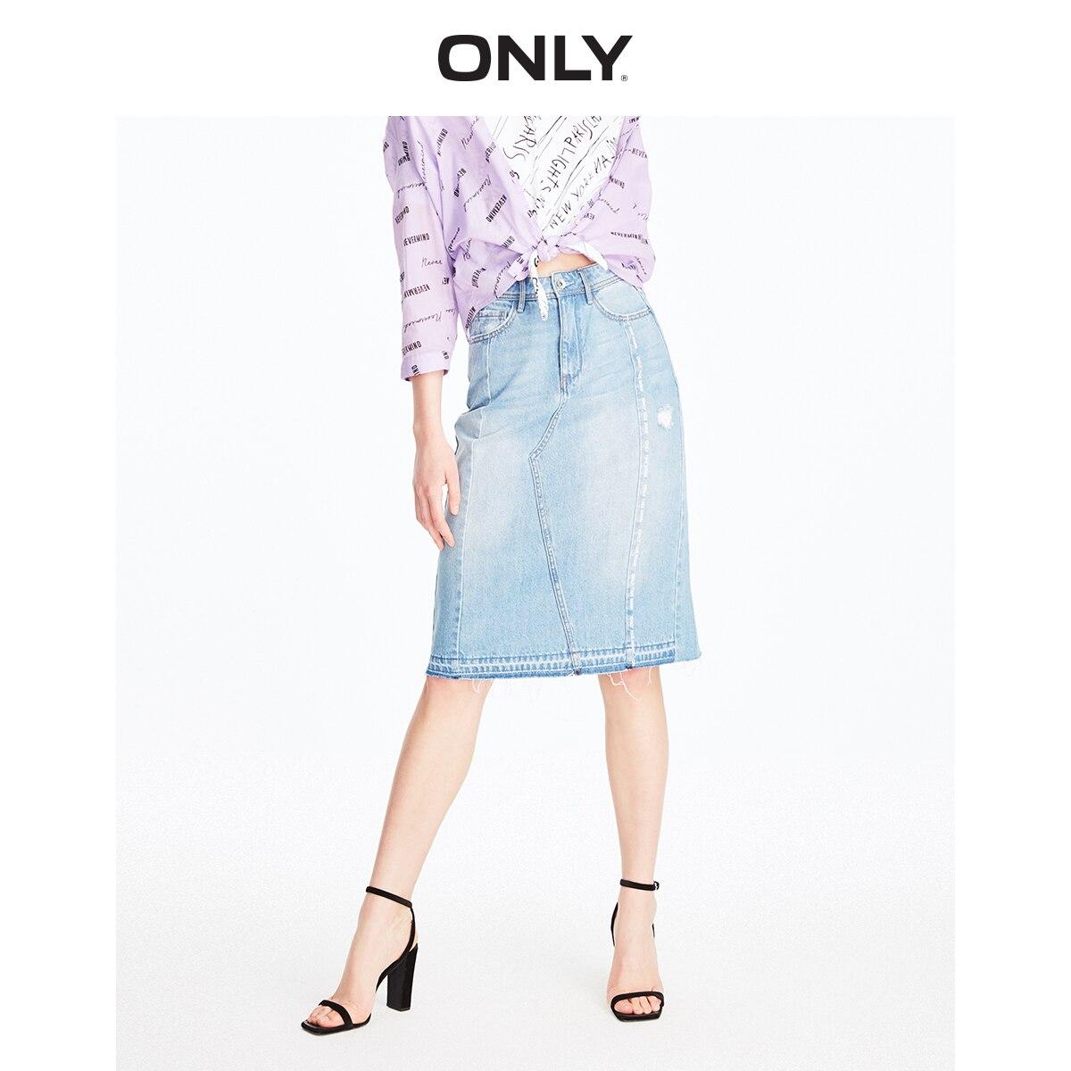 ONLY Women's 100% Cotton Letter Print High-rise Denim Skirt | 119237513