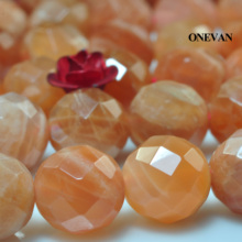 ONEVAN Natural A+ Sunstone Faceted Beads 8mm Smooth Round Loose Stone Diy Bracelet Necklace Jewelry Making Charm Gift Design onevan natural yellow jade faceted beads 6mm 8mm smooth loose round stone diy bracelet necklace jewelry making gift design