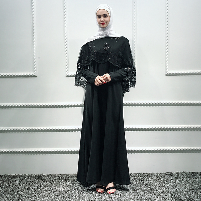 Black Shawl Sequin Abaya Dubai Hijab Muslim Dress Islam Abayas For Women Jilbab Turkish Dresses Caftan Kaftan Islamic Clothing