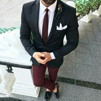 Black Suits with Burgundy Pants Classic Men Wedding Suits for Men 2020 Custom Groom Suit Set (Jacket+Pants) Costume Homme