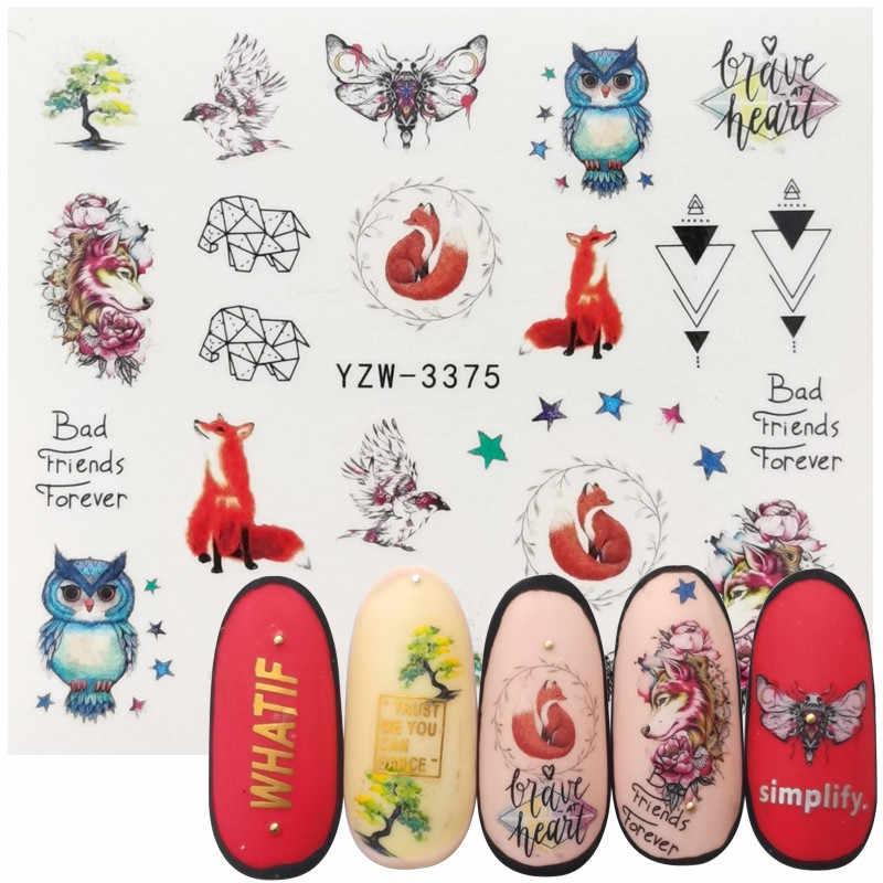 Vos Uil Vogel Nail Art Sticker Watermerk Decal Slider Dieren Serie Water Transfer Manicure Nail Art Decoratie