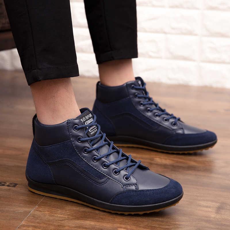 REETENE 2019 Nuovo Stivali di Pelle Uomini di Modo di Autunno Inverno Caldo Cotone Stivali Degli Uomini Della Caviglia Lace Up Scarpe Da Uomo da Uomo Calzature casual Scarpe