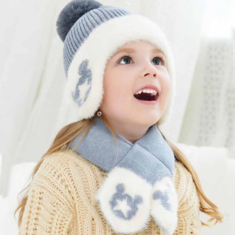 เด็กหมวกฤดูหนาวและผ้าพันคอเด็กอบอุ่น Ribbed ถักหมวกชุดเด็ก 2019 ชายหญิงชายผ้าฝ้าย Lnner ชั้นป้องกันหูหมวกผ้าพันคอ 1-6T