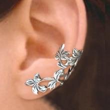 Huitan-Clip para oreja en forma de vid para mujer, accesorios sencillos y elegante para mujer, accesorios portátiles de uso diario, regalos delicados para niña, pendientes Retro, joyería
