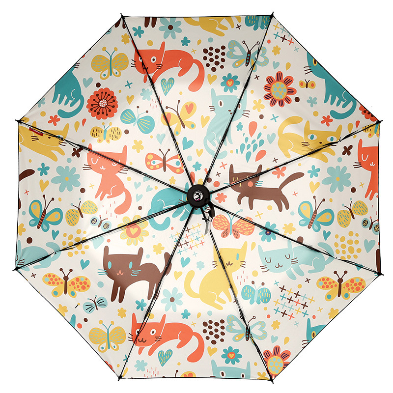 Cartoon Cute Animal Resistant Folding Manual Umbrella Rain Anime Cat and Mouse Women Auto Umbrellas Rain For Men UV Protection in Umbrellas from Home Garden