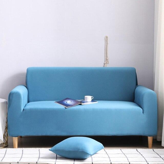 Фото комплект эластичных чехлов для дивана хлопковые однотонные эластичные цена