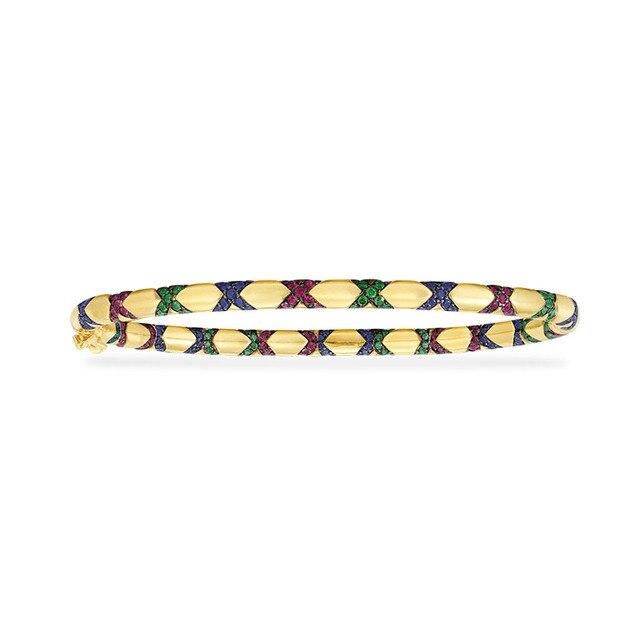 Sljely高品質 925 スターリングシルバー多色ジルコニアクロス部族バングルイエローゴールド色女性マナブレスレットジュエリー