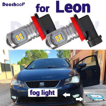 2 sztuk Top quality Canbus Pure White lampa przeciwmgielna LED samochodowa przednia mgła-światło do jazdy dziennej dla Seat Leon 2 3 MK2 MK3 1P 5F (2005-2017) tanie i dobre opinie deechooll CN (pochodzenie) Do światła dziennego 800LM 12 v Fog light-Day Light for Seat Leon 2 3 MK2 MK3 1P 5F (2005-2017)