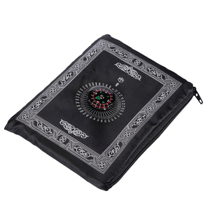 Image 1 - נייד עמיד למים שטיח תפילה מוסלמי שטיח עם מצפן בציר דפוס האסלאמי עיד קישוט מתנת כיס בגודל תיק רוכסן סגנון